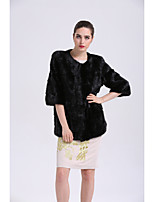 Women's Going out Simple Casual Winter Fur Coat,Solid 3/4 Length Sleeves Short Fox Fur