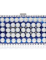 Women Bags All Season Polyester Clutch Pearlised for Event/Party Blue Gold Black Silver Red