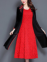 Women's Daily Plus Size Vintage Loose Dress,Solid Embroidered V Neck Midi Long Sleeve Polyester Winter Fall Mid Rise Micro-elastic Opaque