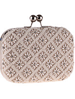 Women Bags All Season Polyester Evening Bag Butterfly Design Beading Pearl Detailing for Event/Party Beige