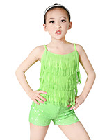 Kids' Dancewear Outfits Children's Performance Spandex Elastic Elastane Sequined Lycra Paillette Sleeveless Dropped Top Headpieces Shorts
