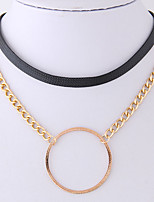 cheap -Women's Circle Simple Casual Choker Necklace Leather Alloy Choker Necklace , Party