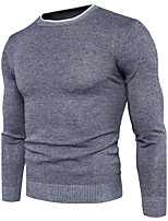 Men's Casual/Daily Simple Regular Pullover,Solid Round Neck Long Sleeves Cotton Spandex Fall Winter Medium Micro-elastic