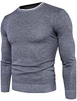Standard Pullover Da uomo-Casual Semplice Tinta unita Rotonda Manica lunga Cotone Elastene Autunno Inverno Medio spessore Media elasticità
