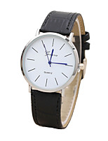 cheap -Men's Women's Quartz Leather Band Black