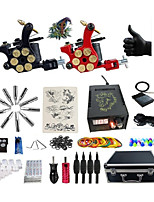 cheap -Professional Tattoo Kit Twins 3 Tattoo Machines  Lion Digital  Power Supply Inks Not Included