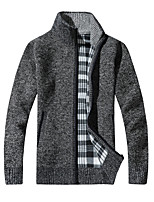 Men's Daily Casual Regular Cardigan,Solid Stand Long Sleeves Cotton Spring, Fall, Winter, Summer Thick strenchy