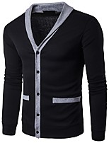 cheap -Men's Daily Casual Regular Cardigan,Solid Plaid Shirt Collar Long Sleeves Polyester Spandex Winter Fall Thick Micro-elastic