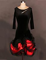 Shall We Latin Dance Dresses Women's Performance Senior Emulation Silk Velvet Pattern / Print Long Sleeve Natural Dress