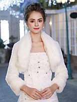 3/4 Length Sleeves Faux Fur Wedding Party / Evening Women's Wrap With Pattern / Print Smooth Shrugs