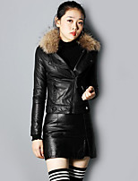 Women's Going out Casual/Daily Simple Fall Winter Leather Jacket,Solid Shirt Collar Long Sleeves Short PU