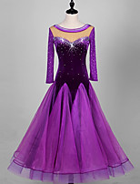 Ballroom Dance Dresses Women's Performance Organza Velvet Crystals/Rhinestones Long Sleeve High Dresses