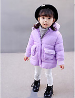 Girls' Solid Down & Cotton Padded Red Purple