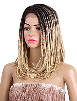 Women Synthetic Wig Lace Front Medium Length Afro Kinky Black Black/Burgundy Light Blonde Brown Medium Brown Braided Wig Ombre Hair Bob