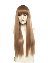 cheap -Brown Wig Female Wig Synthetic Wigs Long Straight Hair Heat Resistant Synthetic Wigs