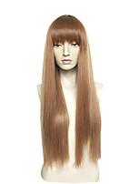 abordables -Mujer Pelucas sintéticas Muy largo Liso Natural Marrón Con flequillo Peluca natural Peluca de celebridades Pelucas para Disfraz