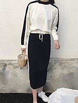 Women's Going out Casual/Daily Street chic Fall T-Shirt Skirt Suits,Solid Round Neck Long Sleeves Cotton