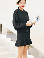 Women's Going out Casual/Daily Street chic Fall Shirt Skirt Suits,Solid Round Neck Long Sleeves Cotton