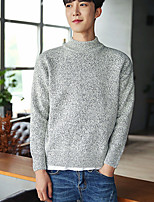 Men's Casual/Daily Short Pullover,Solid Round Neck Long Sleeves Acrylic Fall Winter Medium Micro-elastic