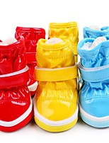 Cat Dog Boots / Shoes Flats Boots Casual/Daily Waterproof Keep Warm Snow Boots Solid Yellow Red Blue For Pets