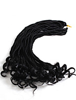 cheap -20inch Ombre Burgundy Brown Fauxlocs Curly Hair Synthetic Soft Dread Locs Crochet Pre-Loop Braided Hair Extension 23roots/Pack 6-8pc/Head