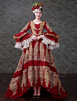 cheap -Vintage Rococo Victorian Costume Women's Adults' One Piece Dress Party Costume Masquerade Red Vintage Cosplay Satin/ Tulle Tulle Long