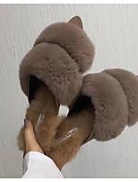 Для женщин Обувь Бархатистая отделка Зима Осень Удобная обувь Тапочки и Шлепанцы Для прогулок На плоской подошве Заостренный носок Ботинки