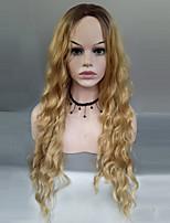 abordables -Mujer Pelucas sintéticas Largo Ondulado Medio Negro / Strawberry Blonde Raya en medio Pelo Ombre Peluca natural Pelucas para Disfraz