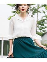 Camicia Da donna Casual Per uscire Moda città Tinta unita Colletto Cotone Manica corta