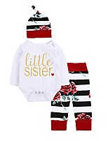 cheap -Baby Girl's Daily Wear Daily Floral Stripe Clothing Set