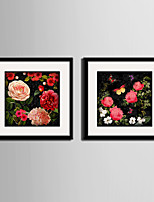 Botanical Floral/Botanical Landscape Framed Canvas Framed Set Wall Art,PVC Material With Frame For Home Decoration Frame Art Living Room