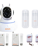 KONLEN® IP504 Android IOS WIFI House Home Security Alarm System CCTV Video IP Camera TF SD Record with Wireless Mini Door Sensor PIR Detector
