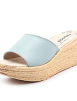 Women's Shoes Real Leather Summer Comfort Slippers & Flip-Flops Round Toe For Casual Blue Black White