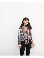 Недорогие -Для женщин Прочее Рубашка Рубашечный воротник,Уличный стиль Полоски Длинный рукав,Полиэстер