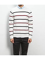 Men's Others Casual Regular Pullover,Striped Round Neck Long Sleeves Polyester Autumn Medium Micro-elastic