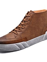 cheap -Men's Shoes PU Spring Fall Comfort Sneakers For Casual Khaki Brown Black