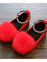 cheap -Girls' Shoes PU Winter Fall Comfort Flats for Casual Black Gray Red