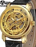 abordables -Hombre Reloj de Vestir Reloj de Pulsera El reloj mecánico Chino Cuerda Automática Huecograbado Piel Banda Lujo Vintage Negro