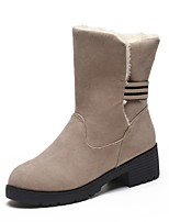 cheap -Women's Shoes PU Winter Comfort Snow Boots Boots Round Toe Mid-Calf Boots For Casual Khaki Red Black