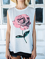 Women's Daily Going out Vintage Boho Spring Tank Top,Floral Color Block Round Neck Sleeveless Polyester Medium