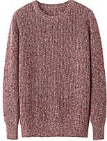 Men's Daily Regular Pullover,Solid Round Neck Long Sleeves Cotton Medium Micro-elastic