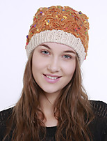 cheap -Women's Acrylic Roman Knit Floppy Hat,Vintage Cute Casual Floral Winter Braided Yellow Beige Orange Blue
