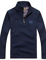 Men's Casual/Daily Regular Pullover,Print Turtleneck Long Sleeves Cotton Fall Medium Micro-elastic