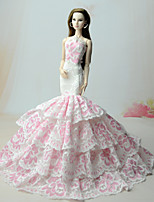 cheap -Dresses Dress For Barbie Doll White+Pink Dress For Girl's Doll Toy
