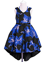 Girl's Daily Going out Solid Floral Jacquard Dress,Cotton Polyester Spring, Fall, Winter, Summer All Seasons Sleeveless Cute Active