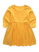 Girl's Dress,Cotton Long Sleeves Street chic Princess Black Yellow