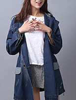 cheap -Women's Daily Simple Casual Winter Fall Denim Jacket,Solid Hooded Long Sleeve Regular Cotton Oversized