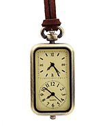 cheap -Men's Pocket Watch Chinese Quartz Dual Time Zones Leather Band Vintage Cool Brown