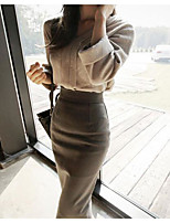 Women's Daily Casual Winter Set Skirt Suits,Solid Round Neck Long Sleeves Cotton