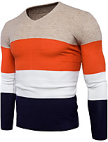 Standard Pullover Da uomo-Casual Semplice Monocolore A V Manica lunga Cotone Poliestere Medio spessore Media elasticità